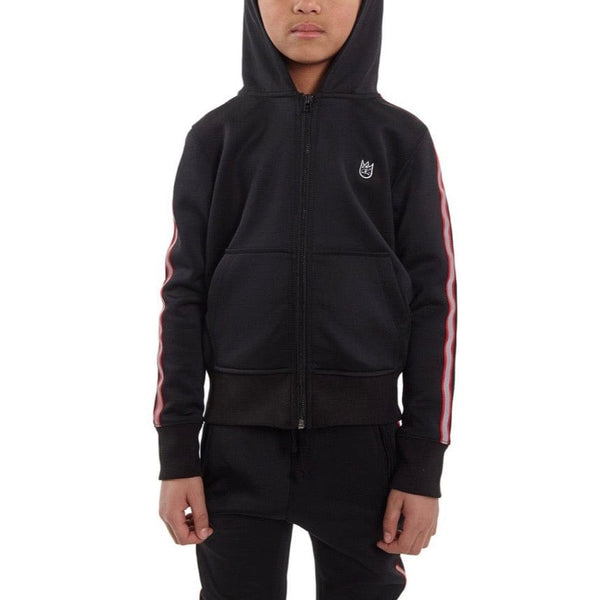 Kid's Cult Scuba Stripe Full Zip Hoodie (Black) 88B10-KS03