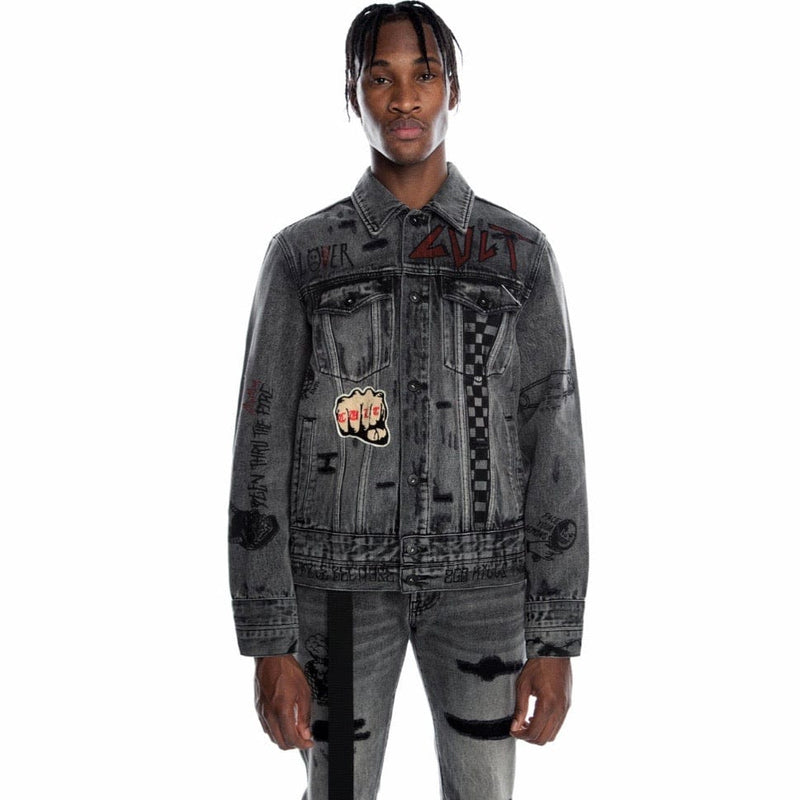 Cult Of Individuality Type IV Denim Jacket W/ Metal Studs (Black Acid)