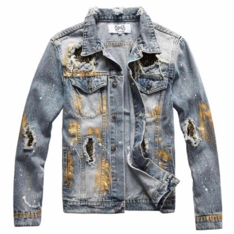 DNA Paint Splattered Studded Patched Denim Jacket (Light Blue/Gold)