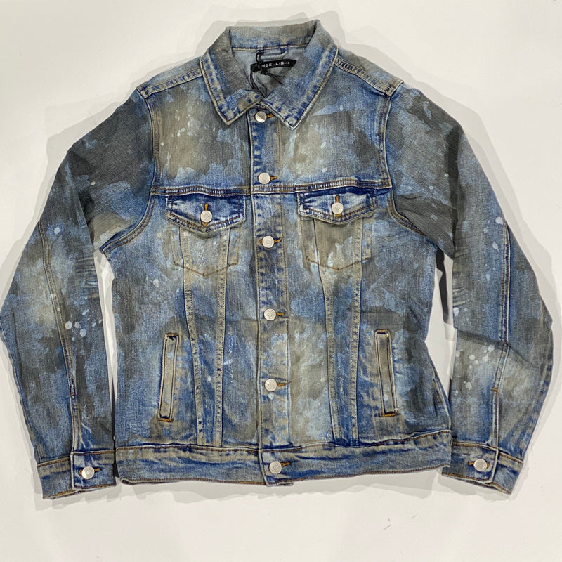 Embellish Burns Denim Jacket (Dirty Light Indigo)