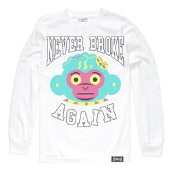 Never Broke Again T Shirt Neon Head L Sleeve White