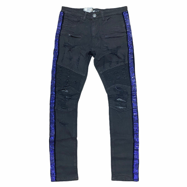 Waimea Rhinestone Side Tape Denim Jeans (Black/Blue) M4935TA