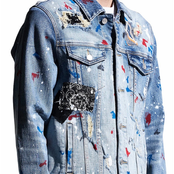 Embellish Rebel Denim Jacket (Blue Patchwork)