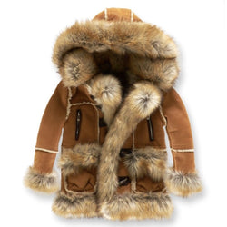 JUNIORS JORDAN CRAIG SHEARLING COAT COGNAC