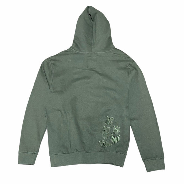Mad Blue Patch Skull Hoodie (Army Green)
