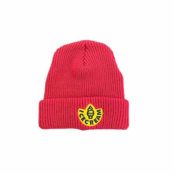Ice Cream Rubber Knit Hat Beanie (Tango Red) 401-8801