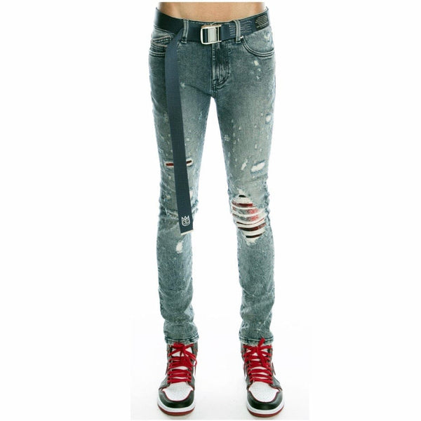 Cult Of Individuality Punk Super Skinny Stretch Belted Jeans (Grit) 620B9-SS06A