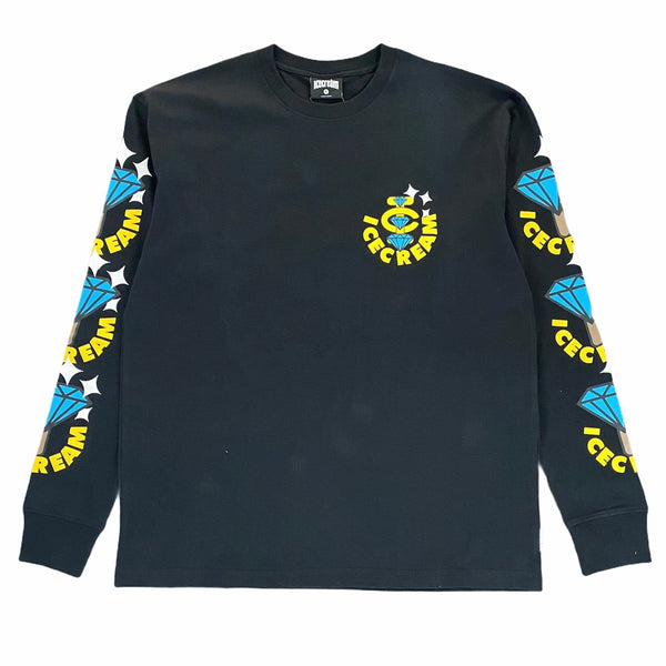Ice Cream Bling Bling Long Sleeve Knit Crew Neck Shirt (Black) 401-8309