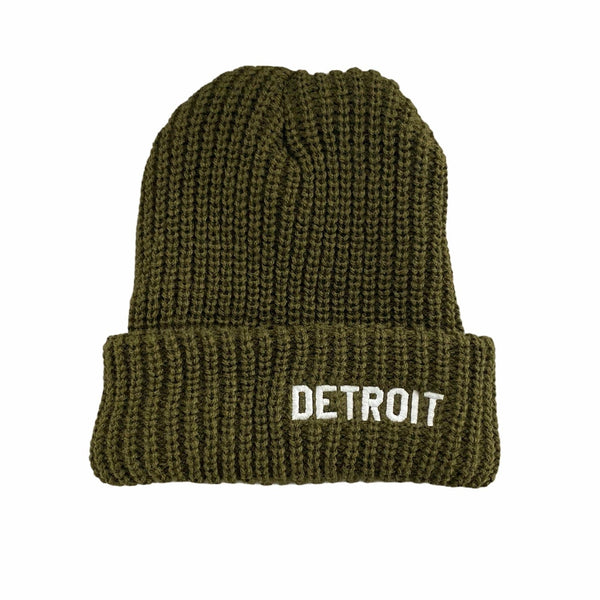 Ink Detroit Cable Knit Beanie (Olive)