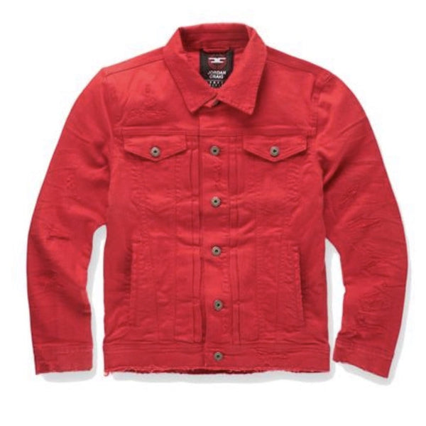JORDAN CRAIG TRIBECA TWILL TRUCKER JACKET RED