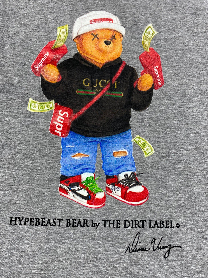 Dirt Label Hypebeast Bear T Shirt (Grey)