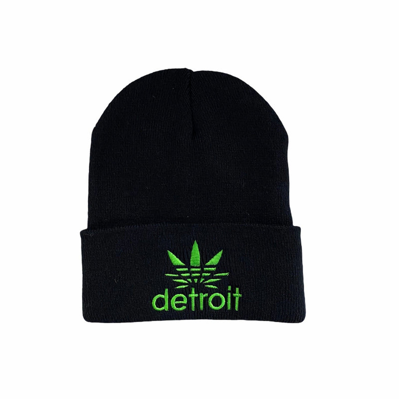 Ink Detroit Cannabis Beanie (Black/Green)
