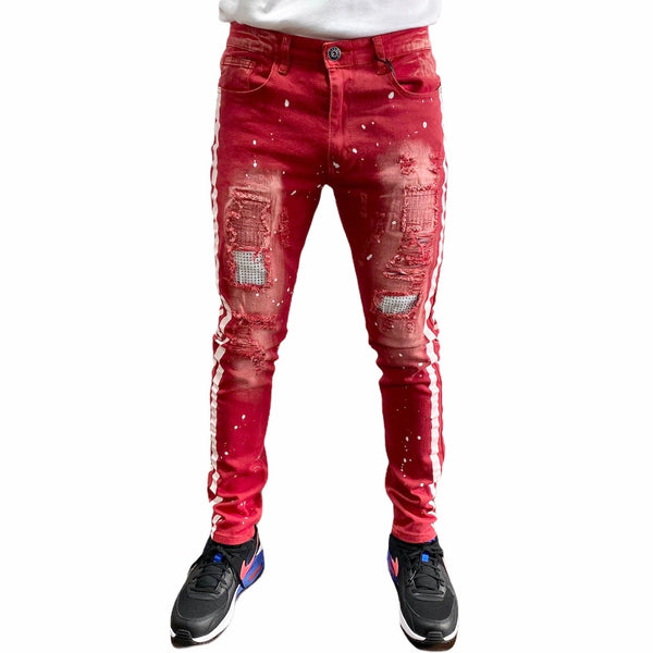 Waimea W/Pink Side Stripe & Rhinestone Twill Denim Jeans (Red) M4921T