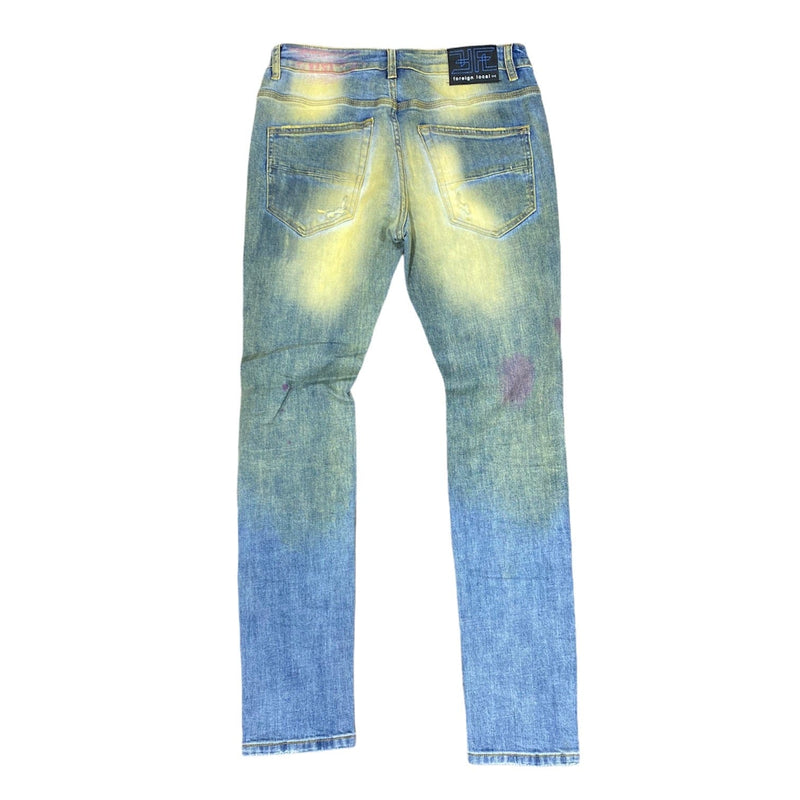 Foreign Local Rip and Repair Splattered Washed Jeans (Tint Blue) FL-10112