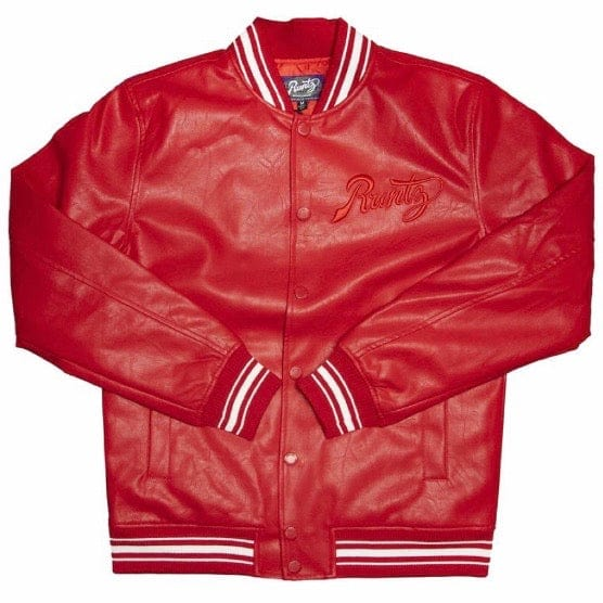 Runtz Scriptz Leather Varsity Jacket (Red) 37346-RD