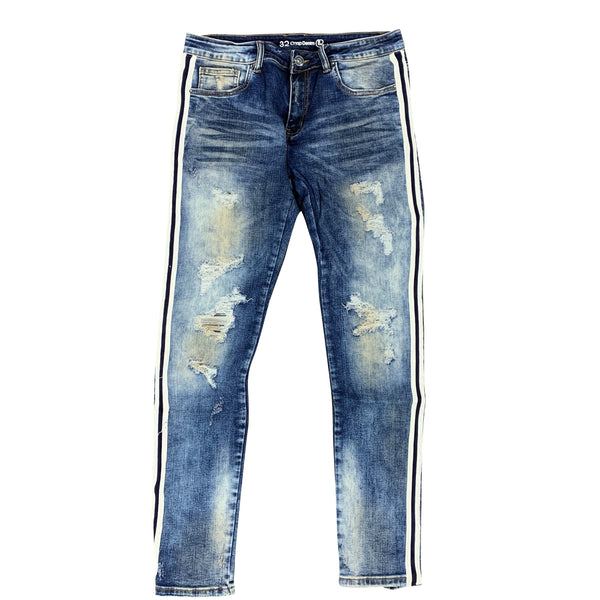 Crysp Line Jean Indigo Distressed Blue/White