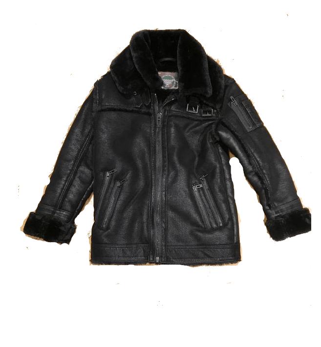 KIDS JORDAN CRAIG SHEARLING JACKET - BLACK