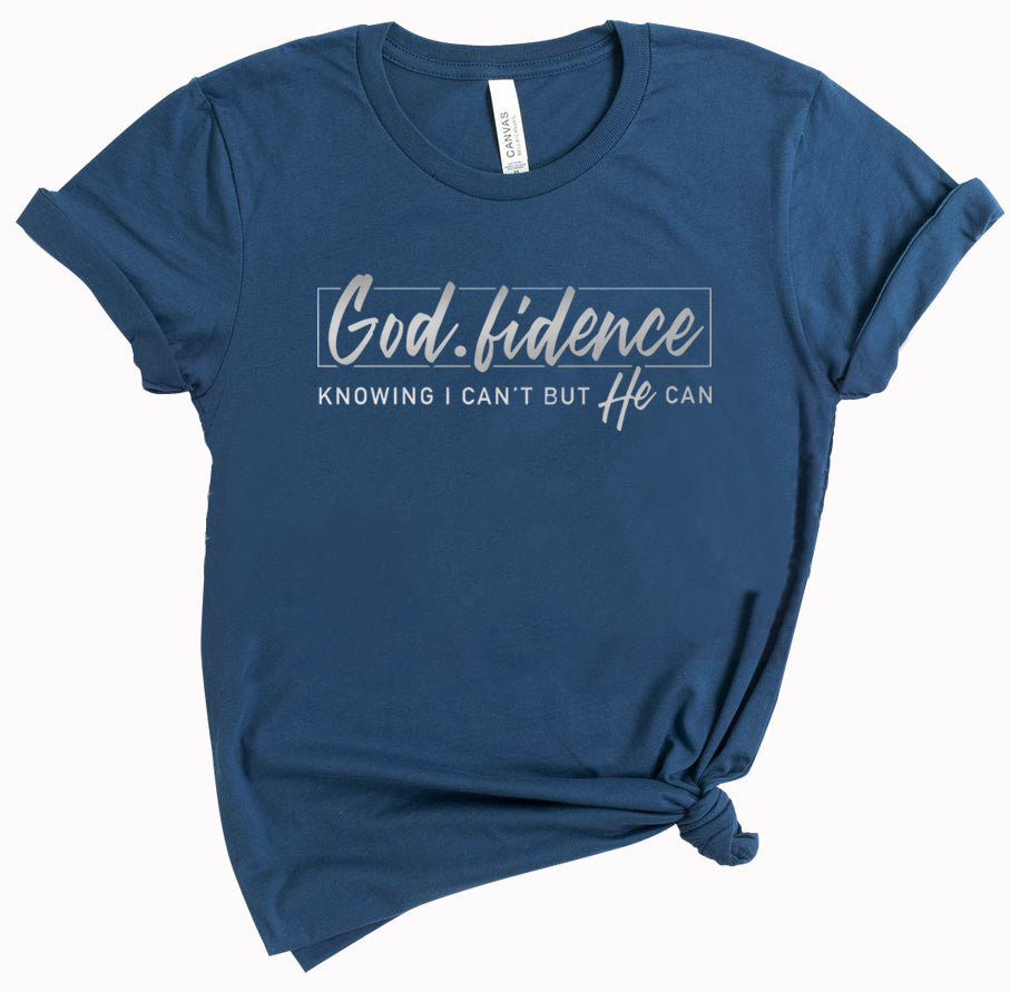 God Fidence - ladies tee - Deep Teal - Reflective Print