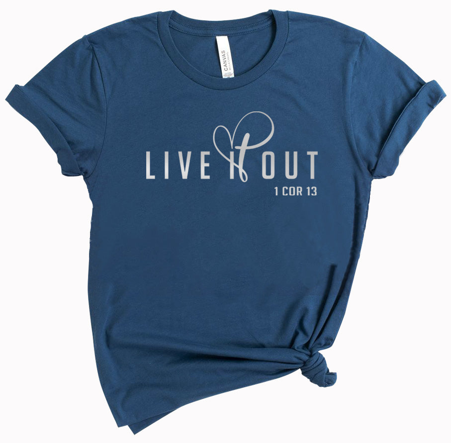 Live it Out - ladies tee - Deep Teal - Reflective Print