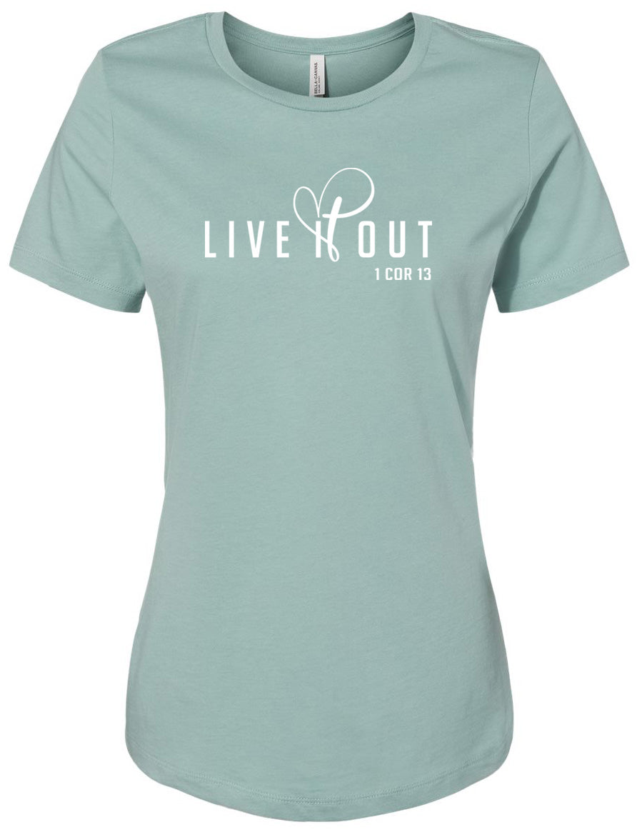 Live It Out - Ladies Cut Tee - Dusty Blue