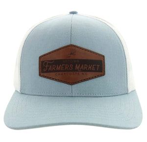 Uptown Farmers Market Hat - Ocean Blue/White - Leather Patch