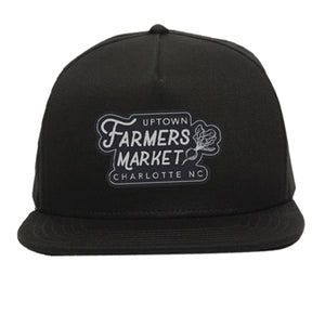 Uptown Farmers Market Hat - Black - Flat Bill - Leather patch