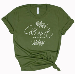 Blessed Mama - ladies tee - Olive