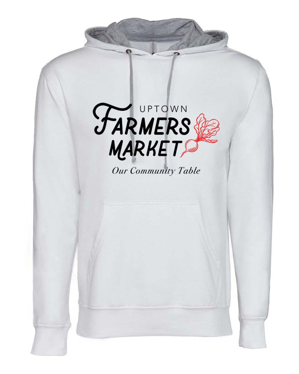 Hoodie - Uptown Farmers Market - Two Tone - White/Grey - Logo