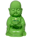 HAPPY BUDDHA TEALIGHT HOLDER GREEN
