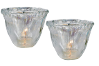 LUSTROUS GLASS TEALIGHT HOLDER PAIR