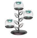 GLOW IN THE DARK GLASS ORB TEALIGHT HOLDER STAND