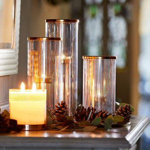 PINSTRIPE GLAM TEALIGHT HOLDER TRIO