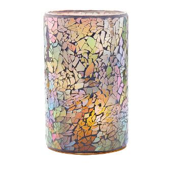 made from 3,000 hand applied mosaic glass pieces. The blush and iridescent shades are perfectly on trend for this season, while the simple cylinder shape lets the pattern details shine. Light your choice of candle inside and watch the flickering light transform this piece. Tealight tree included. Mosaic glass. Includes metal, 3-tealight tree