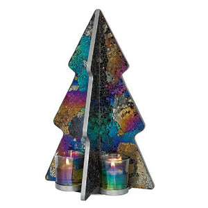 "This shimmering glass mosaic tree reflects in dark moody greeny blues, pinky purples and goldtones. It also includes 4 iridescent glass cups for your favorite votives and tealights and matches several pieces in the collection. 14¼""h"