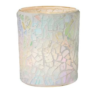 A simple elegance in its straight cylinder shape lets the hand applied glass pieces take centre stage. Watch it transform with the warmth of candlelight within. Clear glass candle cup included. Mosaic glass. Includes glass cup (