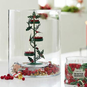 HOLLY BERRY TEALIGHT CANDLE TREE