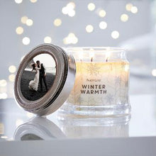 Load image into Gallery viewer, Adorn any 3-Wick Jar Candle with a personal touch with this magnetic photo frame. Designed to fit perfectly atop any 3-Wick Jar's metal lid, pop your favorite photo inside and transform your favorite candle into a chic keepsake.