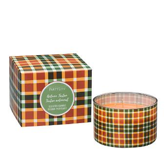 glass jar candle wrapped in our autumnal plaid pattern. This unique jar candle is filled with our Spiced Pumpkin fragrance, a blend where woodland pumpkin sparkles with warming ginger and clove against undertones of creamy vanilla bean. Orange wax, 3 wicks
