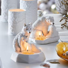 Load image into Gallery viewer, NATURE'S WONDERS™ ARCTIC FOX AND KIT TEALIGHT CANDLE HOLDER