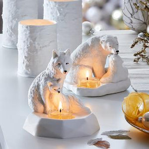NATURE'S WONDERS™ ARCTIC FOX AND KIT TEALIGHT CANDLE HOLDER