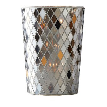 Let light play across the mirrored blass tiles to create unique reflections. Made in neutral silvery tones with pops of white and gold. Mosaic glass. Includes metal, 3-tealight tree (tealight, jar, large tealight, pillar). Measures 25 cm