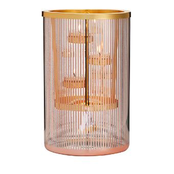 This glass and metal hurricane candle holder has a fine pinstripe and straight cylinder shape, for a simple style that lets the luxe color and finish become the star. This piece features a unique hanging tealight holder to suspend a single flicker of candlelight inside. Glass with metal candle hanger and tealight tree.