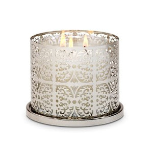 Ornate pierced holder presents your jar candle with panache. Jar candles sold separately. Silvertone metal.