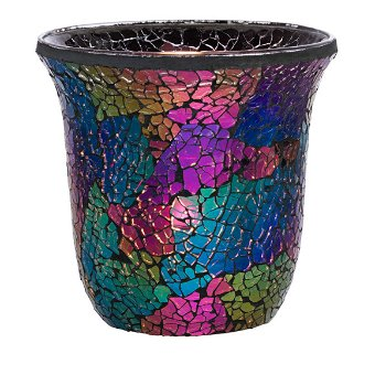 This shimmering glass mosaic reflects in dark moody greeny blues, pinky purples and golds. It includes a clear glass cup and glass leveling beads, and matches various décor pieces in the collection. Illuminate yours with a votive and tealight. 4½