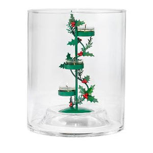 You'll get our Clearly Creative™ glass hurricane candle holder plus a stylish Holiday-themed Holly Berry Tealight Tree. The full Clearly Creative collection is designed to let you express your style. Swap in and out our range of tealight trees or add your own touches from green foliage to decorative glass and beyond. Style it your way. Metal. Also includes silvertone, metal 3-tealight tree. Hurricane measures: 27 cm h,