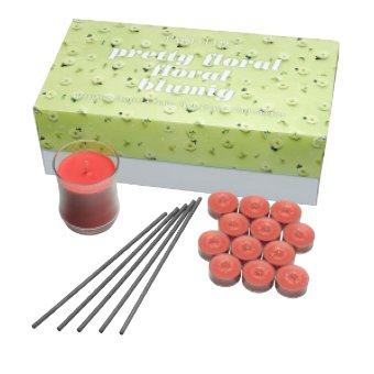 Think roses, jasmine, lily-of-the valley and hyacinth. This pack contains a variety of Floral fragrances in 3 unique forms. Contains 12 Scarlet Sunflower tealight candles, 1 Poinsettia & Musk Escential Jar Candle, 5-pack of Midnight Orchid SmartScents Flameless Fragrance Sticks in a decorative box. Tealight burn time: 4-6 hours each. Escential Jar burn time: 40-60 hours. SmartScents fragrance duration: up to 30 days each.