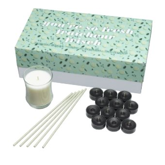 This pack contains a variety of Fresh fragrances in 3 unique forms. Contains 12 Black Anise tealights, 1 White Clove Escential Jar, 5-pack of Sun-Kissed Linen SmartScents in a decorative box. Tealight burn time: 4-6 hours each. Escential Jar burn time: 40-60 hours. SmartScents fragrance duration: up to 30 days each.