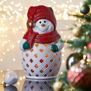JOLLY SNOWMAN JAR CANDLE HOLDER