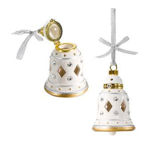 crystal-adorned ceramic hanging bell. This Swarovski® covered ornament even lets you share fragrance, with space inside for one of our SmartScents Fragrance Sticks. Holds 1 SmartScents stick divided into 4 lengths. 11 cm h