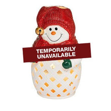 Load image into Gallery viewer, friendly face of this PartyLite snowman candle holder. This jolly design is inspired by traditional festive styling, with a cheery design in glazed ceramic. Light him up and enjoy candlelight shining from within. 2-piece ceramic holder